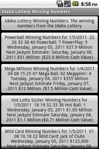 Idaho Lottery Winning Numbers