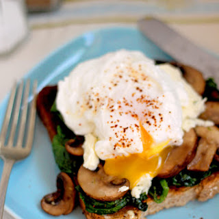 Poached eggs, spinach, Boursin & mushrooms on toast