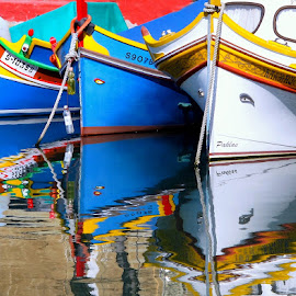 The Three Sisters by Francis Xavier Camilleri - Transportation Boats ( msida, malta, boats, sea, reflections, maltese luzzu )