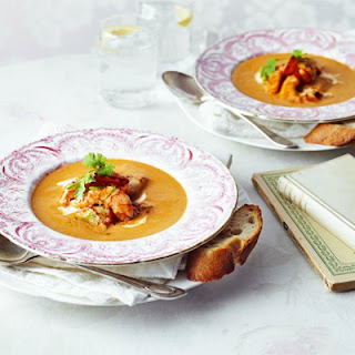 Seared Garlic Seafood With Spicy Harissa Bisque