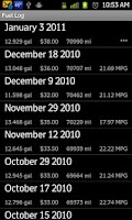 Screenshot of Fuel Log