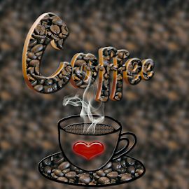 Coffee by Dipali S - Typography Words ( cup, coffee beans, illustration, coffee, art, creativity, smoke, pwc, beverage, pwccoffee, drink, hot, design, photoshop )