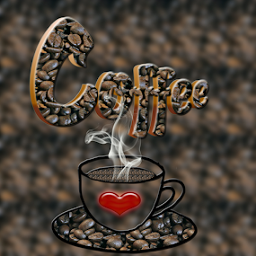Coffee by Dipali S - Typography Words ( cup, coffee beans, coffee, illustration, art, creativity, smoke, pwc, beverage, pwccoffee, drink, hot, design, photoshop )