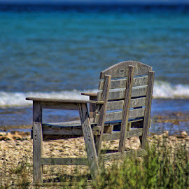 Serenity by Luanne Bullard Everden - Artistic Objects Furniture ( beaches, bench, grass, waves, lake huron, lakes, furniture, rocks,  )