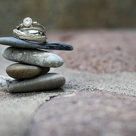 Wedding Rings on a rock balance by Kristin Cheatwood - Wedding Details ( rock balance, artistic, getting ready, jewelry, object )