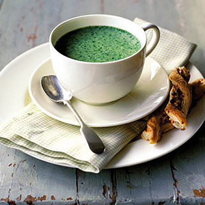 Watercress Soup With Blue Cheese & Cashew Pastries