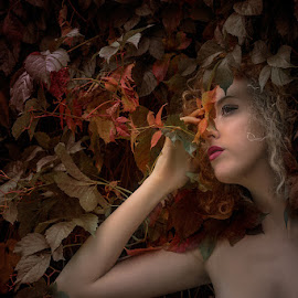 Autumn Smell by Andrea Pollini - People Portraits of Women ( leaves_changing_colors, red, autumn, colors, green, yellow, leaves )