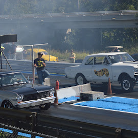 Pair of Deuces by Kevin Dietze - Transportation Automobiles ( deuce, drag racing, nova, long roof, chevy ii, nostalgic )