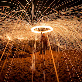 Overhead Fire Spin by Benjamin Perkins - Abstract Light Painting ( light painting, steel wool, spin, long exposure, rocks,  )