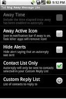 Screenshot of Txt Msg Away Message Lite
