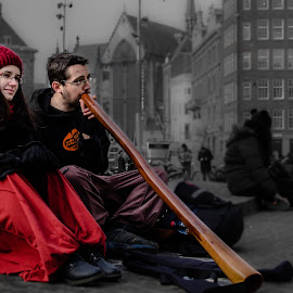 Music , love and dreams.. !! by Kshitij  Saxena - City,  Street & Park  Street Scenes ( love, sitiing, red, dream, didgeridoo, together,  )