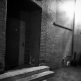 Creepy alleyway time! by Julie Dabour - City,  Street & Park  Street Scenes ( blackandwhite, alleyway, creepy, scary, beautiful, streets, easton, pennsylvania )
