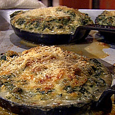 Cast Iron Baked Oysters Rockefeller Bacon Trinity, Creamy Dijon Spinach and Parmesan Bread Crumbs