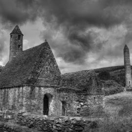 Ireland Church by Eric Demattos - Buildings & Architecture Places of Worship ( tower, church, rock, storm, landscape, abandoned, pwc 132: b&w landscapes, black and white, b&w )