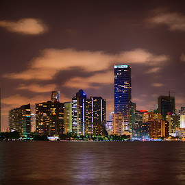 Miami at night by Johannes Oehl - City,  Street & Park  Skylines ( clouds, water, skyline, hdr, skyscraper, florida, miami, night, usa,  )