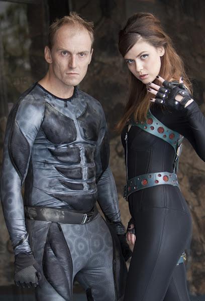 "Raphael Kepinski as ""Repair Man"" and Pandora Morgan as ""Haze"" in ""Repair Man"".  Costumes by Enigma Arcana.  Bettina Strauss photo (www.best-foto.com)."