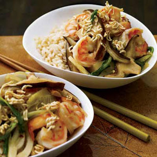Shrimp-and-Bok Choy Stir-Fry with Crispy Noodles