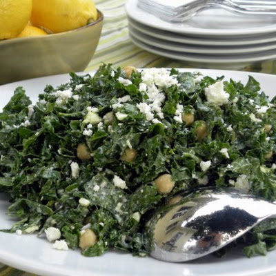 Creamy Kale Salad with Chickpeas and Feta