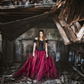 Walls coming down  by Shawnessy Ransom - People Portraits of Women ( hdr, tutu, woman, dark beauty, fine art photography, fine art, senior portraits, abandoned )