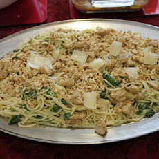 Spaghetti With Mascarpone, Lemon, Spinach and Hazelnuts