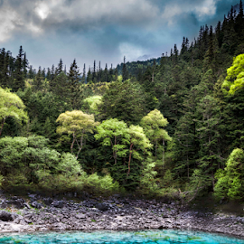 Blue Waters of Jiuzhaigou by Darren Small - Landscapes Forests