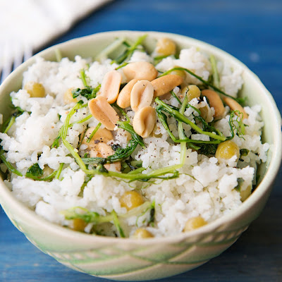 Coconut Rice with Pea Tendrils