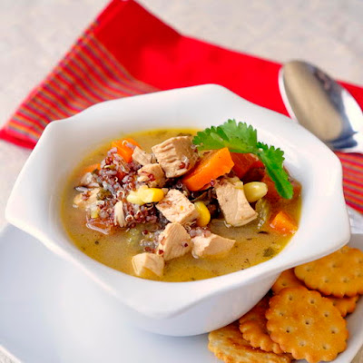 Lemon Chicken and Red Quinoa Soup
