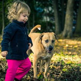 by Michael Last - Babies & Children Children Candids ( outdoors, fall, dog portrait, backyard, leaves, dog, toddler, color, colorful, nature )
