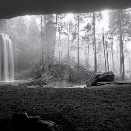 Ash Cave B&W by Bud Schrader - Landscapes Caves & Formations ( rock formations, caves, hocking hills, ash cave, b&w landscape,  )