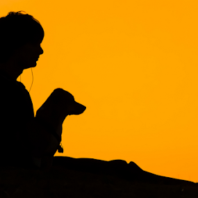I love hanging out with you by Eladio Gomes - Landscapes Sunsets & Sunrises ( silhouette, sunset, shape, dog, profile )