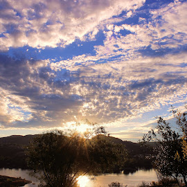 Breath by Mary O'Brien - Landscapes Sunsets & Sunrises ( clouds, camping, coffee, lake, sunrise )