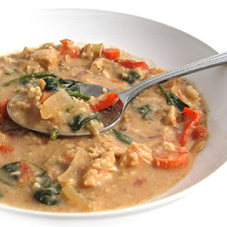 Skinny Thai Peanut Chicken Soup