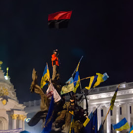 Glory to Ukraine, Glory to Heroes! by Eugene Shutoff - City,  Street & Park  Street Scenes ( damaged, freedom, yellow-blue, revolution, protest, street, riot, people, war, strike, police, kyiv, maidan, euromaidan, armed, downtown, berkut, disillusion, forces, fire, flag, ukraine, struggle, meeting, independence, night, summit, rebellion, square, town, crowd, humanity, society )