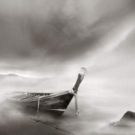 Low tide by Robin Hakanen Martio - Landscapes Travel ( grayscale, tide, thailand, boat, mist )