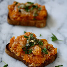 Roasted Butternut Squash Toasts with Manchego and Pumpkin Seeds