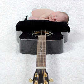 Inspiration by Brandie Laughner - Babies & Children Babies ( white, guitar, baby, boy, black, newborn )