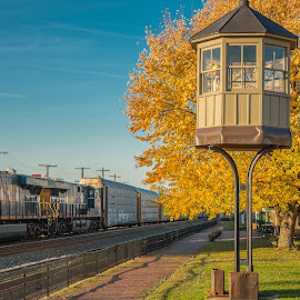 Whistle stop by Michael Wolfe - Transportation Trains ( train tracks, fall colors, train engine, watch tower, train mseum, train, csx locomotive,  )