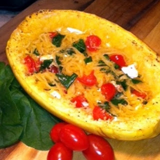 Fresh Tomato, Feta, and Spinach Stuffed Spaghetti Squash