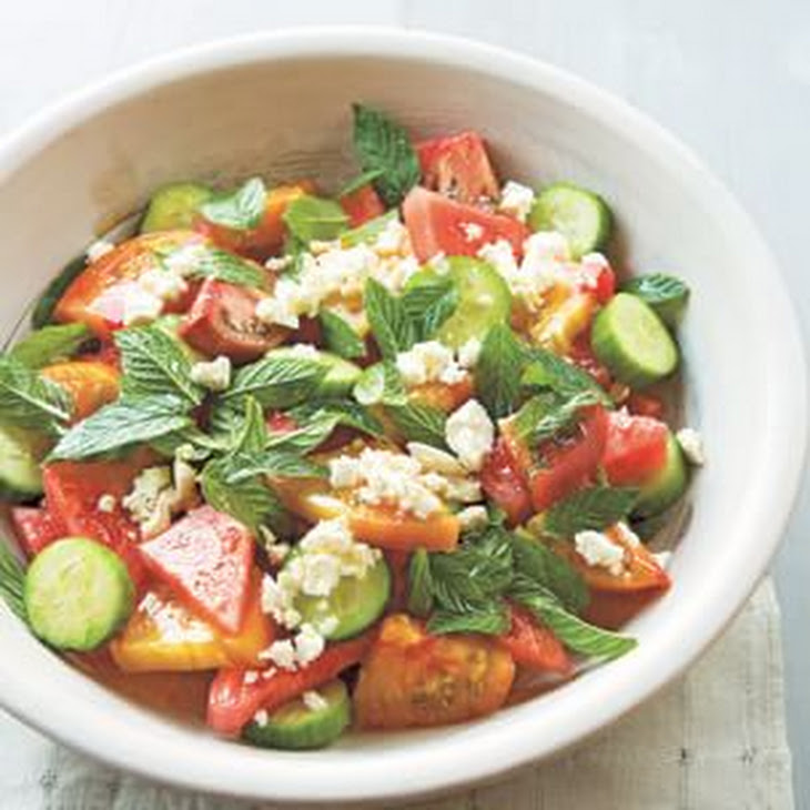 Heirloom Tomato and Watermelon Salad with Feta and Mint Recipe ...