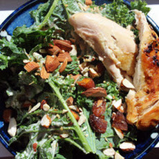 Make-Ahead Roast Chicken and Kale Salad with Tahini, Apricots, and Almonds
