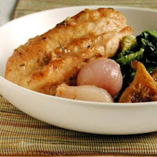 Chicken Braised with Figs on Wilted Escarole