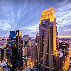 by Doug Wallick - City,  Street & Park  Skylines ( tower, skyline, minnesota, cold, minneapolis, cloud, rbc, burst, wells fargo, plaza )