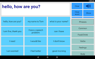 Screenshot of Speech Assistant AAC