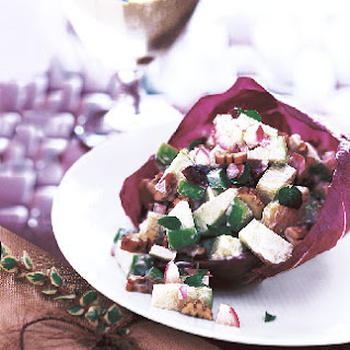 Waldorf Salad with Cranberries and Pecans in Radicchio Cups