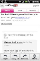 Screenshot of Rediffmail NG