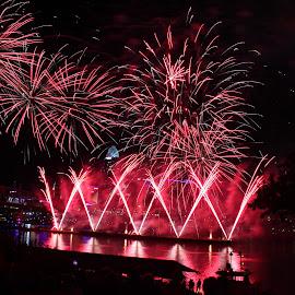 Cincinnati Riverfest by MW Eulberg - City,  Street & Park  Skylines ( riverfest fireworks )