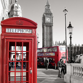 Red London by Gianni Frasca - City,  Street & Park  Street Scenes ( red, london, street, town, city )