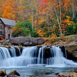 Glade Creek Mill by Brad Crezee - Landscapes Mountains & Hills ( water, fall colors, glade creek, grist mill, babcock )