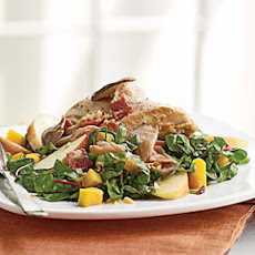 Pan-Roasted Chicken, Squash, and Chard Salad with Bacon Vinaigrette