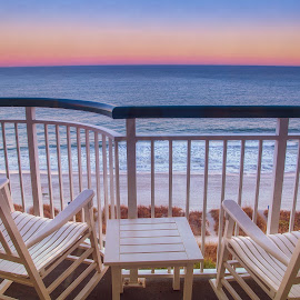 Sunset over Atlanta Ocean by Paul Zeinert - Artistic Objects Furniture ( sand, chairs, relax, ocean, beach, atlanta, usa, south carolina, myrtle beach, overview, color, sunset, high )